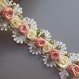 1 mètre perle perle fleur dentelle garniture ruban festonné Zigzag bord largeur 3,7 cm Vintage bordure blanche tissu brodé appliques couture artisanat mariage robe de mariée vêtement bandeau bricolage