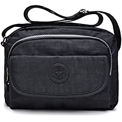 tuokener Bolso de Mujer Bandolera Bolsillos Impermeable Bolsos Pequeños Bandoleras Bolsa para Viaje Crossbody Bag Nylon Waterproof,Negro