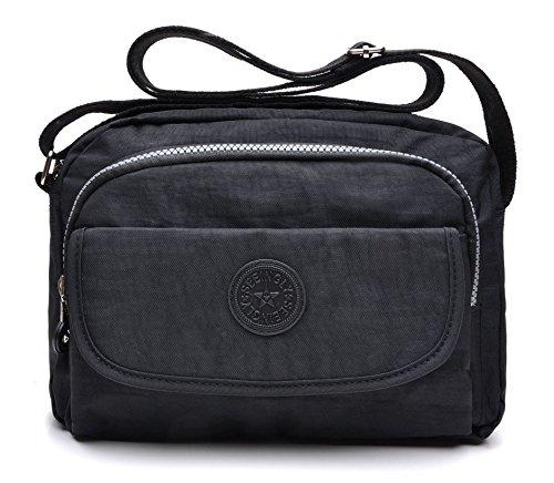 tuokener Bolsos de Mujer Nylon Hombro Bolso Bolsa Impermeable para Mujer Viajar Crossbody Bag Nylon Waterproof(negro)