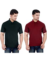 Mse Combo Half Sleeve Cotton Men'S Plain Polo Neck T-Shirts Skinny Fit: Cut Closest To The Body (Pack Of 2)