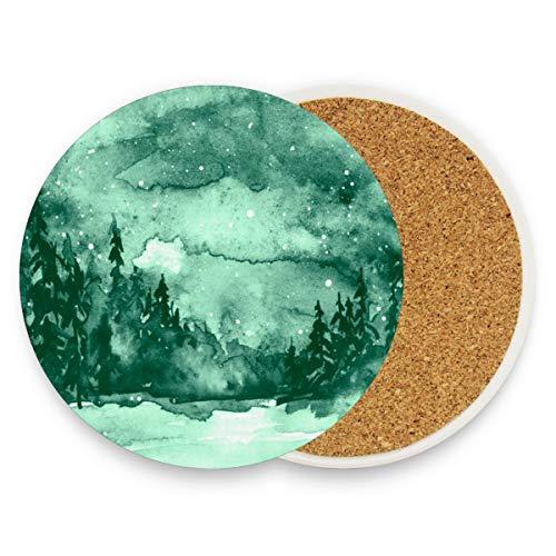 Green Forest Sternenhimmel Runde saugfähige Keramik Stein Getränkeuntersetzer Kaffeetassen Matten Set für Home Office Bar Küche (Set von 1 Stück), keramik, multi, 1 Stück -