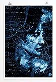 Sinus Art Kunst und Deko Poster - Abstraktes Porträt eines Menschen mit Gleichungen im Hintergrund- Fotodruck in gestochen scharfer Qualität