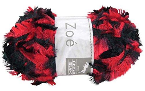 Pelote laine cheval blanc fourrure zoé - 123 rouge noir
