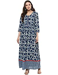 Geroo Women Cotton Indigo Dabu Hand Block Printed One Piece Long Dress (Indigo Kurta)