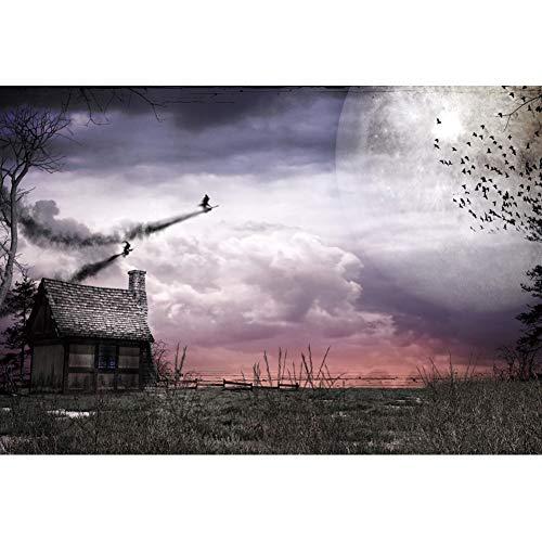 OERJU 1,5x1m Halloween Hintergrund Fliegende Hexe Holzhaus Fotografie Rasen Gruppe von Vögeln Vollmond Hintergrund Süßes oder Saures Halloween Party Dekoration Porträt Requisiten