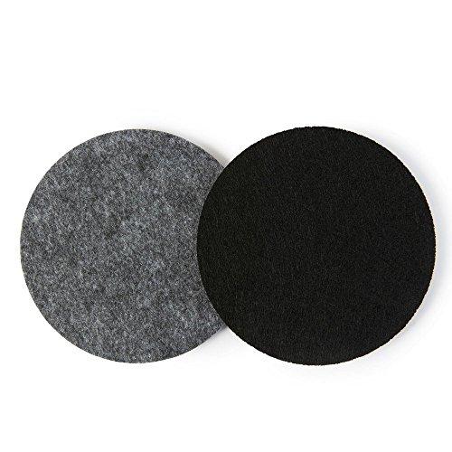 FILZUNTERSETZER zweifarbig, rund 8er Set, mittelgrau/schwarz (Farbkombination wählbar). Glasuntersetzer beidseitig nutzbar. Untersetzer aus Filz schützen Tisch & Bar. Getränke-Untersetzer für Glas, Gläser, Tassen