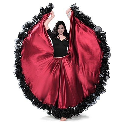 ROYAL SMEELA Frauen Bauchtanz ATS Tribal 25 Yard Skirt Flamenco Spitze Rüschen Große Swing Röcke Tänzerin Tanzen Kleid - Rüschen Rock Kostüm