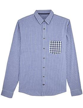 DATSCHI Trachtenhemd Blau Weiß Kariert mit Brusttasche Langarm Bio Baumwolle Oktoberfest Bierzelt Wiesn