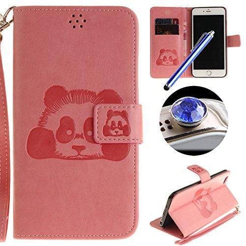 Etsue Handytasche für iPhone 6S/iPhone 6 (4.7 Zoll) lila, Brieftasche Hülle für iPhone 6S/iPhone 6 (4.7 Zoll) [Mädchen Schmetterling] Muster Lederhülle Handyhülle Einzigartig Flip Hülle Leder Schutzhü Karikatur Panda,Rosa