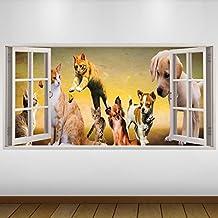 EXTRA GRANDE Marrón mascotas perro Gato Silvestre de vinilo 3D Póster - Mural Decoración - etiqueta de la pared -140cm x 70cm