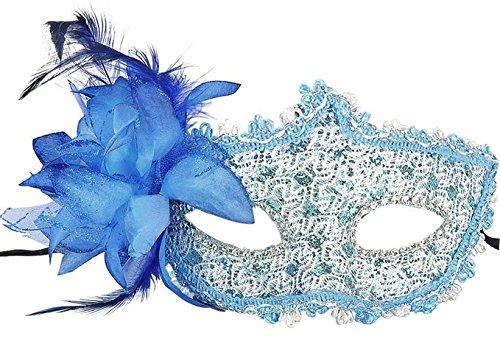 yansanido Sexy Charme Maske aus Spitze Damen Party Masquerade Augenmaske Party Ball Masquerade Fancy Kleid, blau - Masquerade Mit Blau Schwarz Kleid