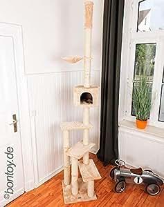 Bontoy Kratzbaum Pascha Deckenhoch mit 3 Ebenen 240-260cm Creme, Sisalstämme mit 9cm Durchmesser, für Deckenhöhe von 240-260cm, weitere Deckenhöhe auf Anfrage