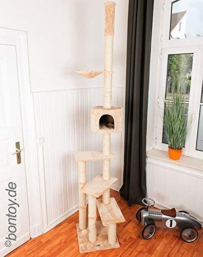 Produktabbildung von Bontoy Kratzbaum Pascha Deckenhoch mit 3 Ebenen 240-260cm Creme, Sisalstämme mit 9cm Durchmesser, für Deckenhöhe von 240-260cm, weitere Deckenhöhe auf Anfrage
