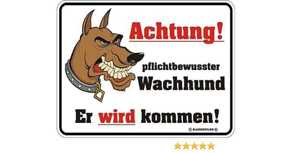 Achtung scharfer Hund Blech-Schild Blechschild mit Spruch 22x17 cm