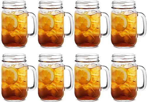 8 Quality Drinking Kilner Glass Handled Drinks 0.4 Litre Tumblers Preserving Cocktail Beer Jars Mugs Jar