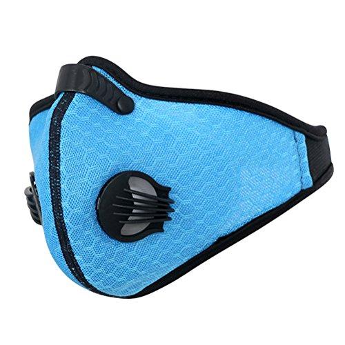 Clispeed Maschera antipolvere, maschera antipolvere a carbone attivo Maschera mezza maschera con valvole Filtro antipolvere anti-polline PM2.5 maschera per corsa in bicicletta e altre attività all'aperto (blu)
