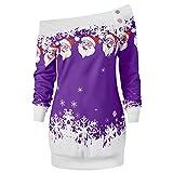 Riou Weihnachtskleid Pulloverkleid Damen Herbst Langarm Schneeflock Lang Gedruck Knielang Hoodie Sweatshirt Blouse Kleider (M, Lila B)