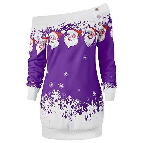 Alwayswin Plus Size Weihnachten Sweatshirt Für Frauen Weihnachtsmann Print Langarm Pullover Skew Kragen Lange Hülsen Bluse Langarmshirt Sexy Elegant Tuniken Sweatshirts Oberteile (1950's Dress Up Kostüm)