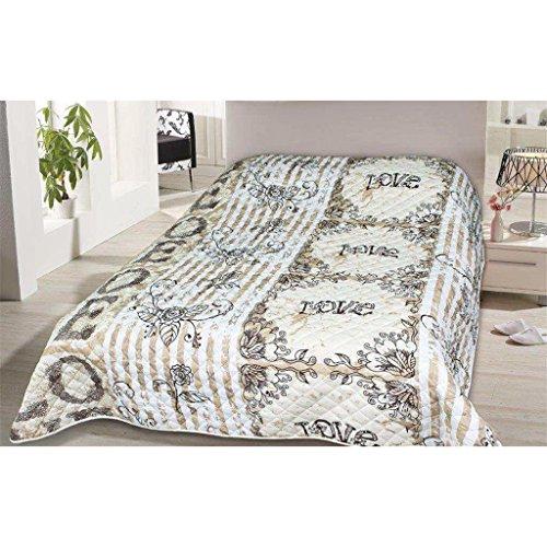 Tagesdecke in vielen Designs, gesteppter Bett- und Sofaüberwurf XXL ( 220x240cm - Vintage Love )