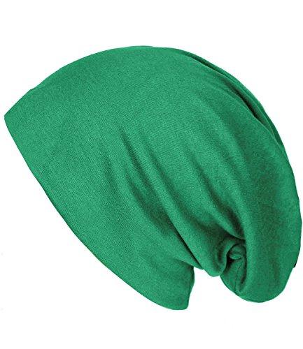 caripe leichte Long Beanie Slouch Mütze Damen Herren Jersey einfarbig - su99 unifarben (grün)