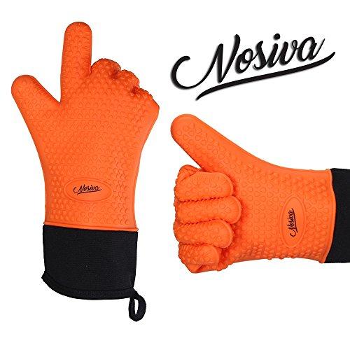 NOSIVA Ofenhandschuhe, Silikon 230 ℃ Extrem Hitzebeständige Grillhandschuhe BBQ Handschuhe zum Kochen, Backen, Barbecue Isolation Pads, 1 Paar, Orange