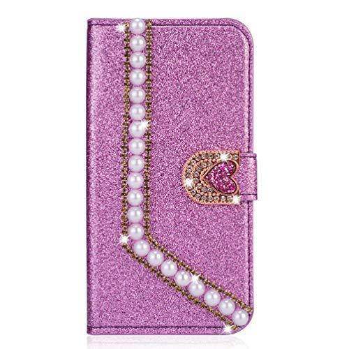 Miagon Hülle Glitzer für Huawei P30,Luxus Diamant Strass Perle Herz PU Leder Handyhülle Ständer Funktion Schutzhülle Brieftasche Cover,Lila
