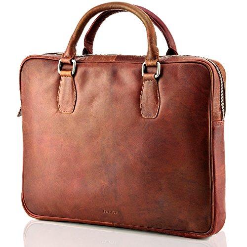 Echt Leder Messenger bag Business Tasche Aktentasche Herrentasche Schultertasche Umhängetasche DIN-A4 Braun Laptoptasche Notebooktasche Cognac MB-3