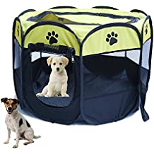 YOUJIA Parque Para Mascotas Plegable 8 Paredes Parque Juego Entrenamiento Dormitorio Perro Cachorros (Amarillo, M)