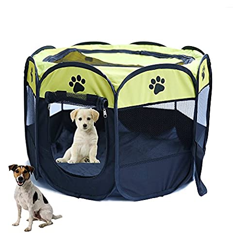 YOUJIA Outside Playpen For Dogs Foldable Pet Carrier Portable Pop Up Dog Play Pen Cage (Yellow, S)