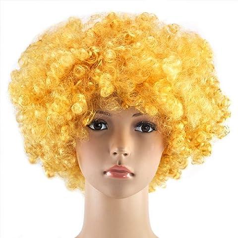 Accessotech bouclé Déguisement Afro Perruques Funky Disco Clown Style Pour Hommes/Femmes déguisement 70s Cheveux - Or, Taille unique