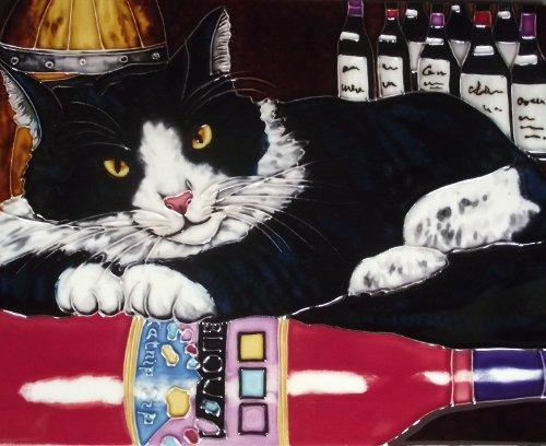 Continental Art Center HD 044Schwarz Katze mit Wein Art Fliesen, 11von 35,6cm