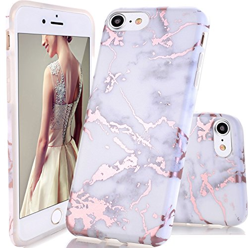 Coque iPhone 5 5s SE,DOUJIAZ Housse brillant de Protection, Ultra-Mince Glitter Paillette TPU Silicone Souple Coque Pour iPhone 5 /5s /SE (Série Marbre,Shiny Rose Gold /White)