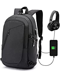 Antivol Sac à Dos Ordinateur Portable 15.6 Pouces Homme Imperméable avec USB Charging Port And Headphone Port Sac à Dos D'affaires Sac à Dos Fonctionnel Knapsack Backpack Sac a Dos PC Portable pour Loisirs/Affaire/Scolaire Noir