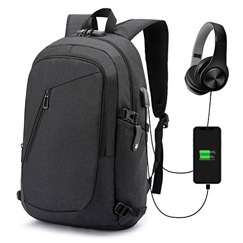 Antivol Sac à Dos Ordinateur Portable 15.6 Pouces Homme Imperméable avec USB Charging Port And Headphone Port Sac à Dos D'affaires Sac à Dos Fonctionnel Knapsack Backpack Sac a Dos PC Portable pour Loisirs/Affaire/Scolaire No