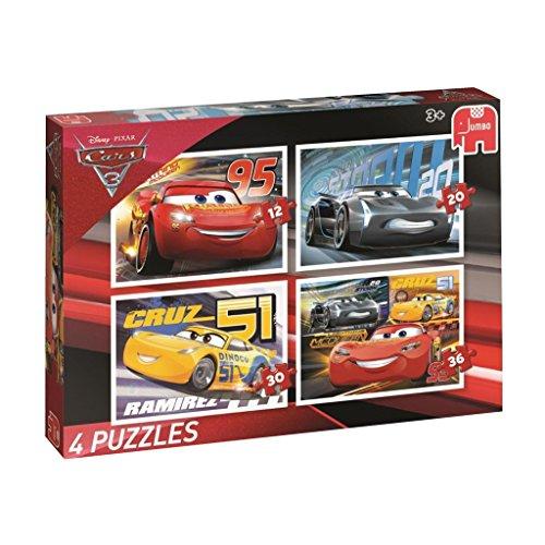 Jumbo Disney Cars 3: 4 Puzzles Puzzle - Rompecabezas (Puzzle Rompecabezas, Dibujos, Preescolar, Disney Pixar Cars, Niño, 3 año(s))