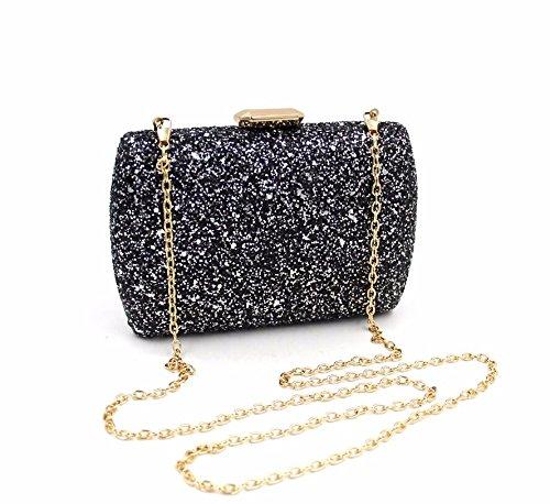 KAFEI Donne Borsa serale Diamond All Seasons evento/festa&Sera Club 19,5*12*5cm,Gold black