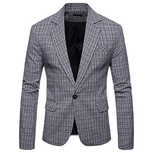Aoogo Mens Casual Plaid Business Hochzeitsanzug Revers Slim Fit Outwear Blazer Mantel Tiefem V-Ausschnitt Einfache Temperament Business Office TäGliche Jacke