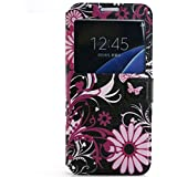 View Window Cuir Etui Coque Housse per Samsung Galaxy A3 A3100(2016 version) Smartphone, Yihya Mince Flip Folio PU Leather Wallet Case Protection Portefeuille Slim Stand Cover avec Stylus Pen--Butterfly Flower
