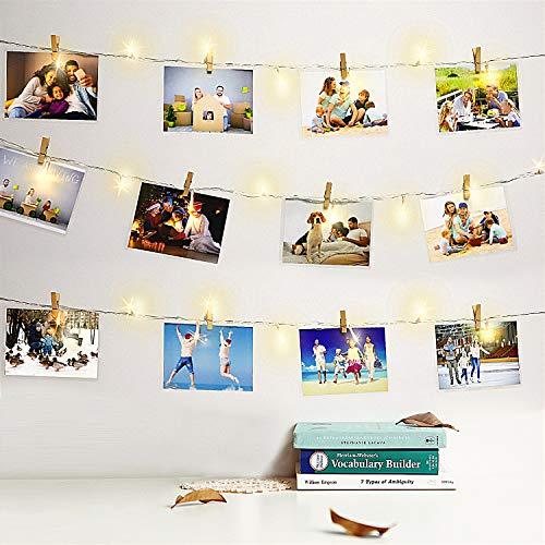 10M 100 LED Lichterkette mit Klammern für Fotos Warmweiß 50 Clips, 8 Modi Lichter mit Fernbedienung & Timer, für Karten, Bilder, Memos Dekor für Zimmer, Weihnachten, Party USB & Batteriebetrieben - Bild Weihnachten Karten