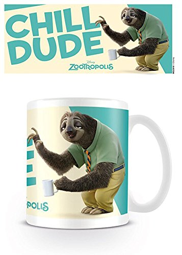 Tazza in ceramica, soggetto: bradipo Chill Dude dal film Zootropolis, diametro: 8,5 cm, altezza: 9,5 cm