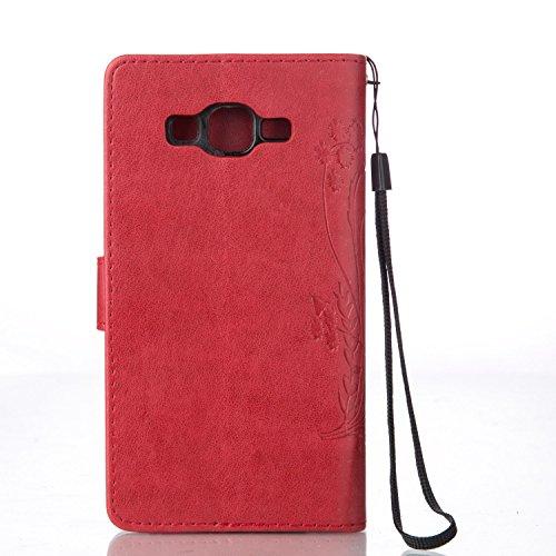 iPhone 6 Plus Custodia, iPhone 6S Plus Wallet Case - Felfy Fashion Puro Colore Marrone scuro Fiori Farfalla Design Custodia in pelle PU Leather Cuoio Libro Portafoglio Folio Flip Chiusura Magnetica co Rosso