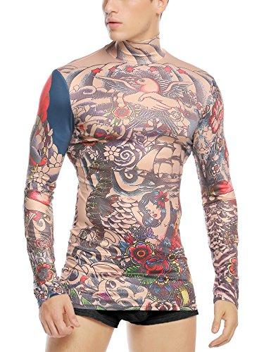 Coofandy Kostüm Herren Karneval Damen Shirt Sexy Gruselig Tattoo Shirt Tribal-Tattoo Pullover Bunt Tribalshirt Oberteil Tätowierung Kostüm für Party Langarm Halloween Fasnet Fasnacht Rot