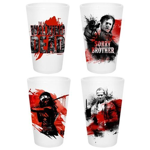 AMC The Walking Dead Set of 4 White Pint Glasses by JUST FUNKY