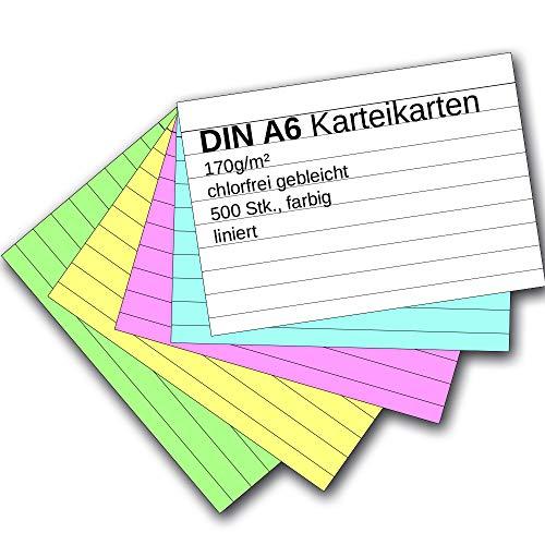 Karteikarten 500 Stück A6 farbig liniert -