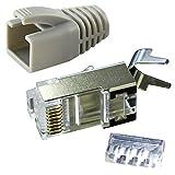 Ligawo VLS2 Netzwerk Stecker für Verlegekabel Cat.7 bis AWG22 (1 Stück) + Tülle grau