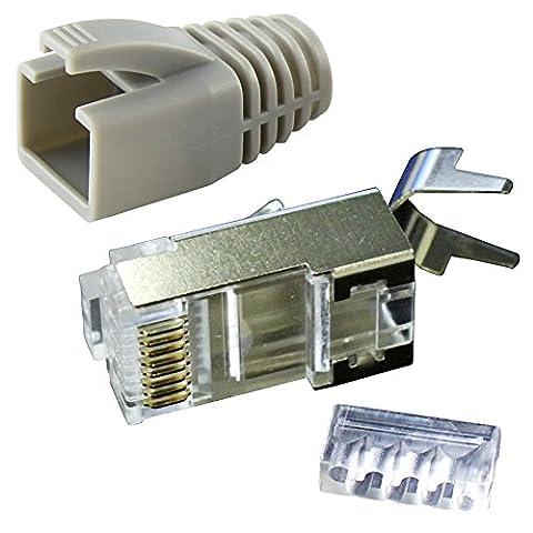 Ligawo VLS2 Netzwerk Stecker für Verlegekabel Cat.7 bis AWG22 (20 Stück) + Tüllen grau