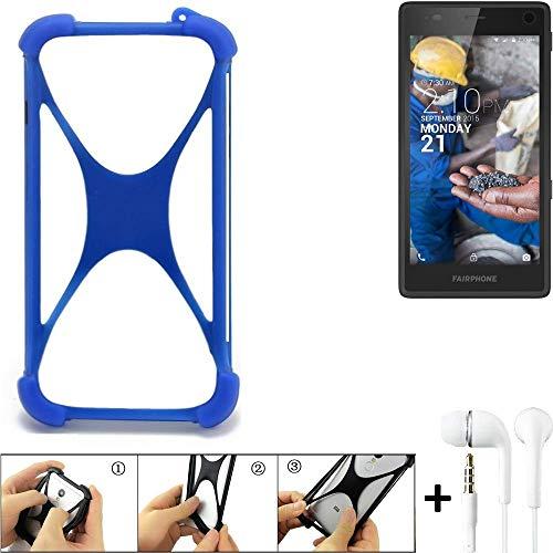 k-s-trade® paraurti per cellulare fairphone fairphone 2 paraspruzzo in silicone custodia cover bumper per astuccio tpu softcase protector blu (1x) + auriculari
