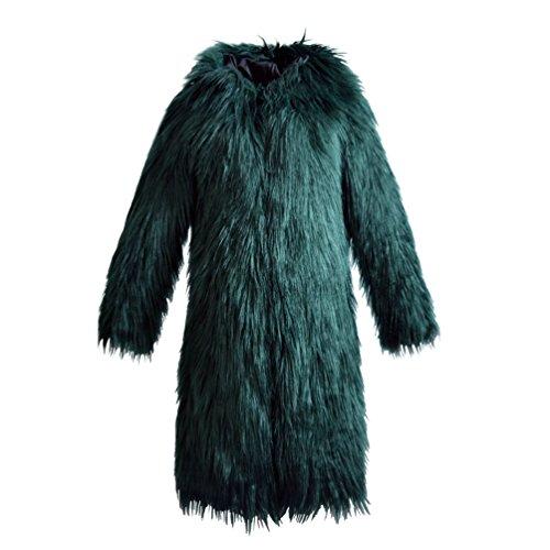 Yuandian donna autunno e inverno casuale lungo cappotto in pelliccia sintetica con cappuccio ecologica finta pellicce caldo giaccone giubbotto verde scuro 3xl