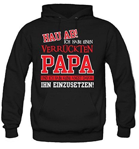 Verrückter Papa Kapuzenpullover | Geburtstag | Geschenk | Geschenkidee | Sprüche | Zitate | Kostüm | Coole | Mama | Papa | Männer | Herren | Fun (M, Schwarz) (College Kostüme Ideen Männer)