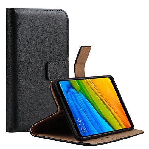 Ambaiyi Flip Funda de Cuero Genuina Piel con Tape Cartera Carcasa para Xiaomi Redmi 5 Plus , Negro